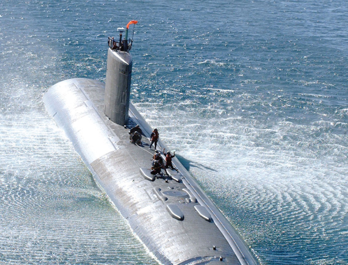 submarine on surface of water